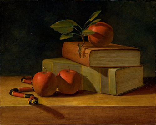 Still Life Painting with a Snake, Books, and Apples